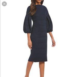 Maggy London Herringbone Knit Balloon Sleeve dress